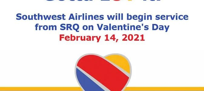 Southwest Airlines now flying into Sarasota International Airport (SRQ)